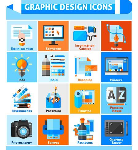 Conjunto de ícones de design gráfico vetor