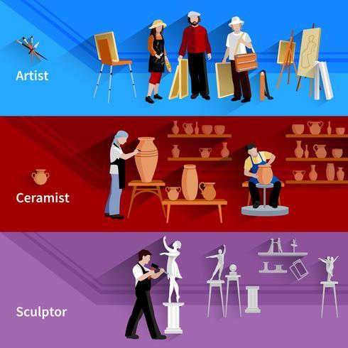 Artista Ceramista Escultor Banners vetor