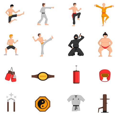 Conjunto de ícones de artes marciais vetor