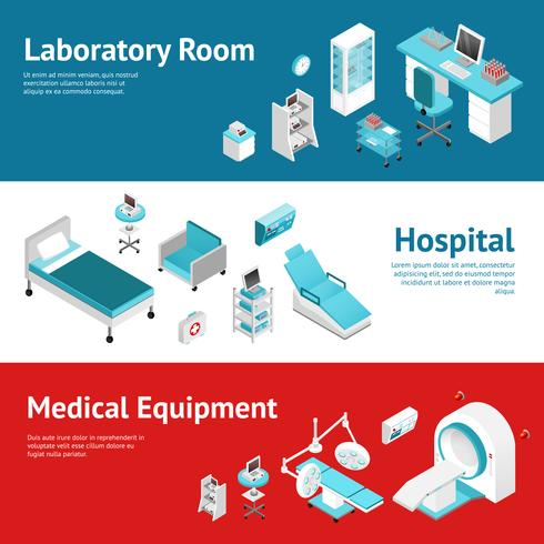 Conjunto de Banners plana de equipamento médico de hospital vetor