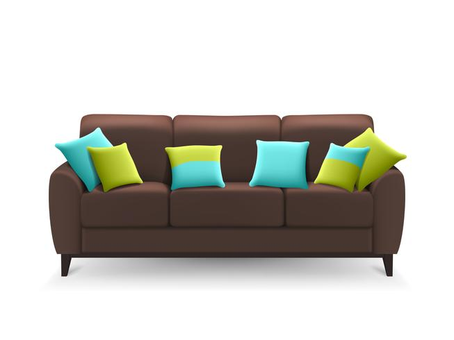 Brown Realistic Sofa With Almofadas Decorativas vetor