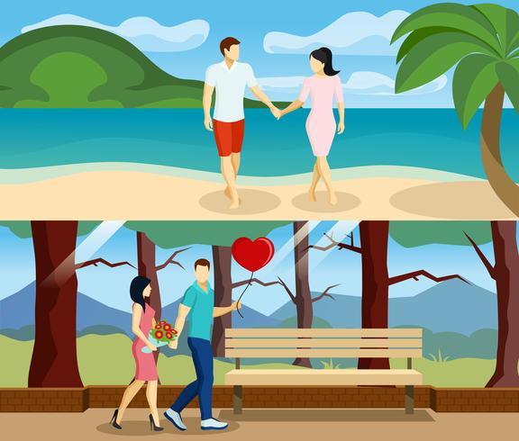 Pessoas amor Banner Set vetor