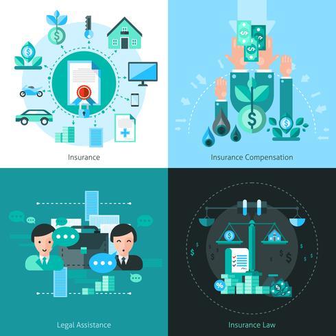 Conjunto de ícones de conceito de seguro empresarial vetor