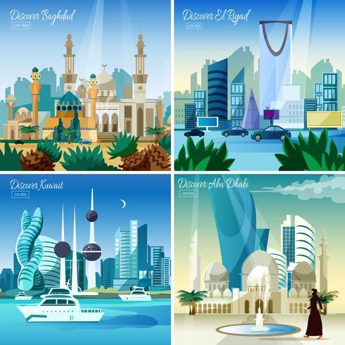 Cityscape árabe 4 ícones quadrados plana vetor
