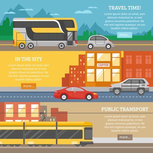 Transporte para a cidade e banners de viagens vetor