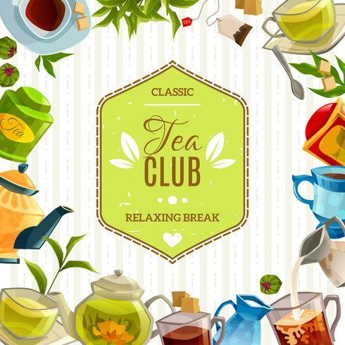 Cartaz do clube do chá vetor