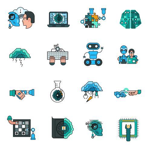 Conjunto de ícones de linha de inteligência artificial vetor