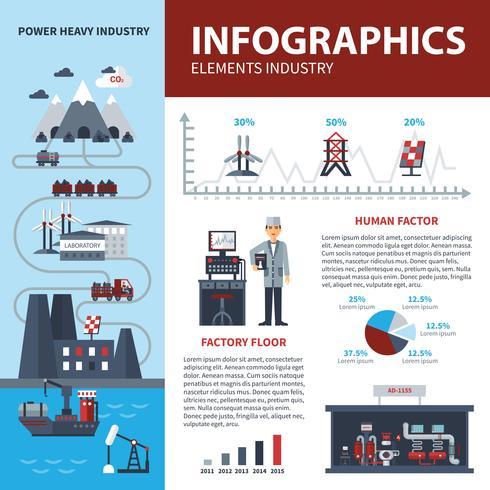 Infografia de energia e indústria vetor