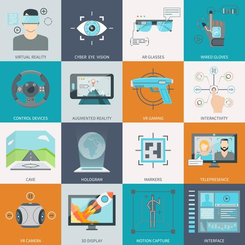 Virtual Realidade Aumentada Icons vetor