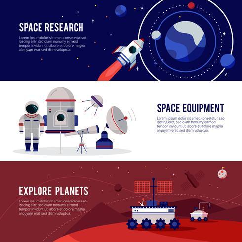 Conjunto de Banners horizontais plana de pesquisa espacial vetor
