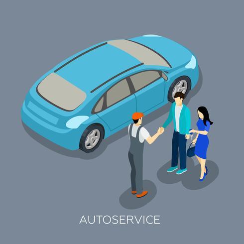 Auto serviço Isometric Mechanic Customers Composition vetor