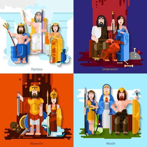 Conceito dos desenhos animados dos deuses 2x2 olímpicos vetor