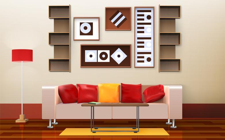 Design de interiores de sala de estar vetor
