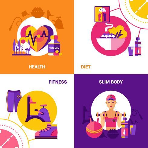 conjunto de conceito de design fitness 2x2 vetor