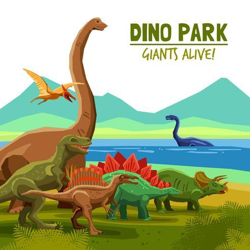 Cartaz do parque de Dino vetor