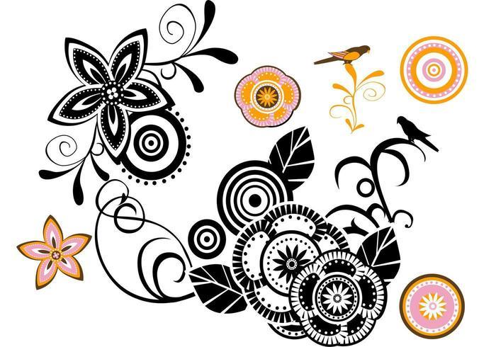 Pacote de vetores florais modernos
