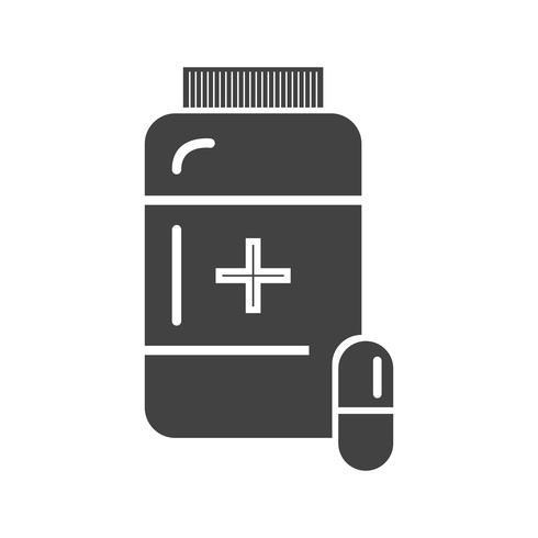 Glifo de medicina ícone preto vetor