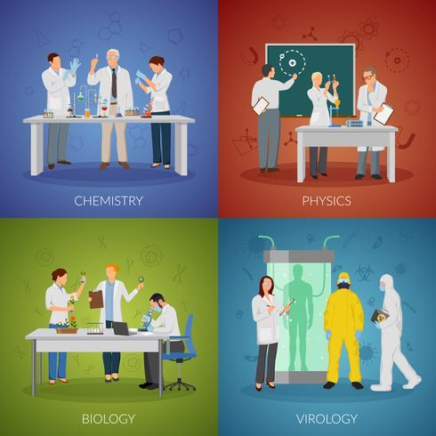 Conjunto de ícones do conceito de cientista vetor