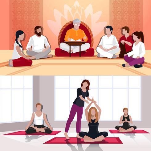 Yoga e composições planas da lição espiritual vetor