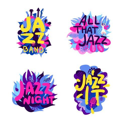 Conjunto de composição de tema de jazz vetor