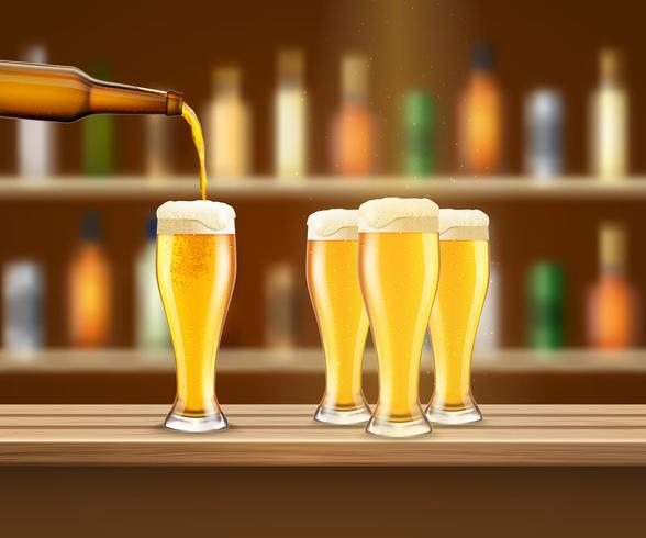 Ilustração realista de cerveja vetor