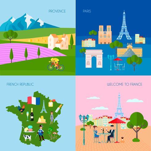 Conjunto de ícones do conceito de França vetor