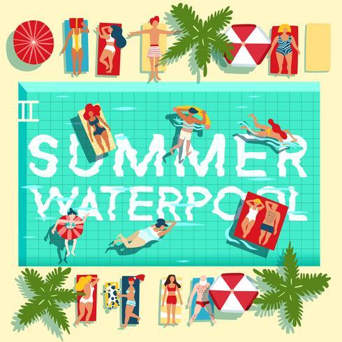 Férias de verão piscina cartaz plana vetor