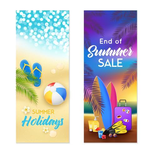 Banners verticais de verão praia 2 vetor