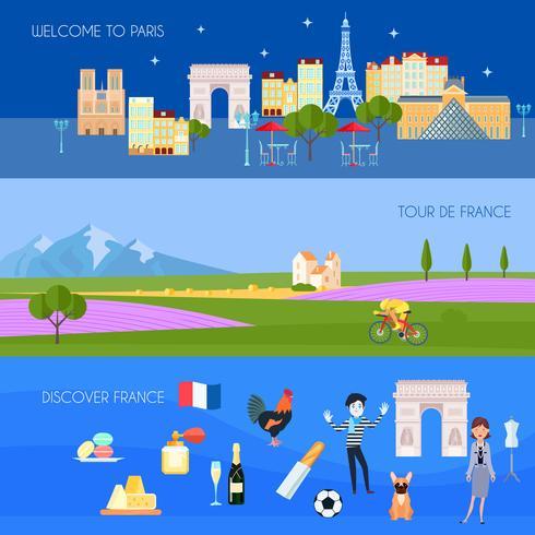 Conjunto de Banners de França vetor