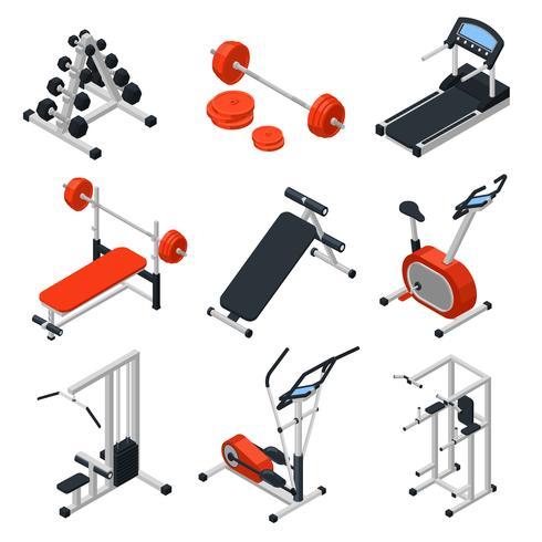 Conjunto isométrico de equipamento de ginásio vetor