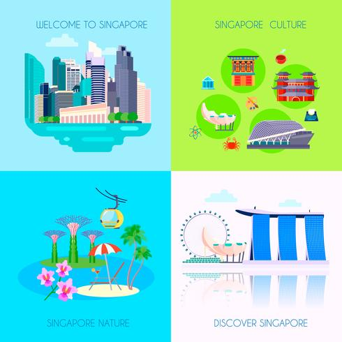 Conjunto de ícones de cultura plana de Singapura vetor