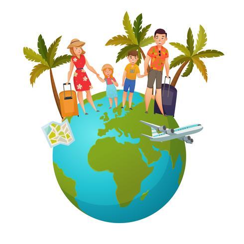 Composição de férias em família vetor