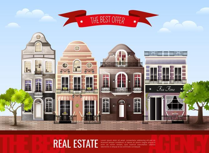 Poster europeu velho das casas vetor