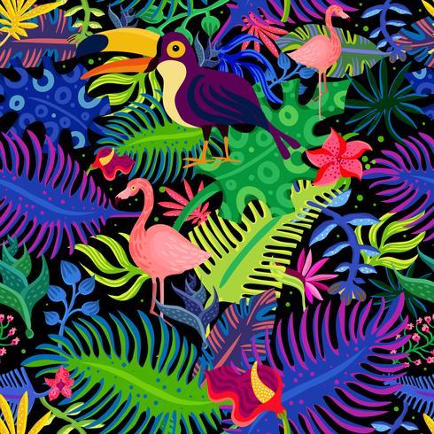 Padrão sem emenda de cores exóticas tropicais vetor