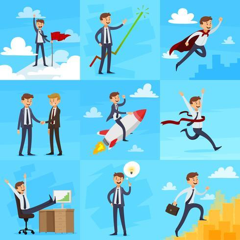 Conjunto de ícones de crescimento de carreira vetor