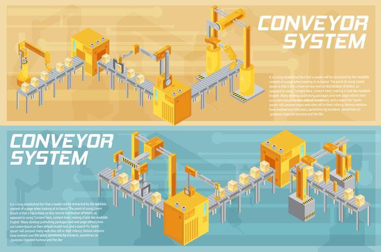 Banners isométricos de sistema de transporte vetor