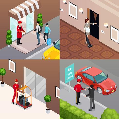 conceito de design do hotel serviço 2x2 vetor