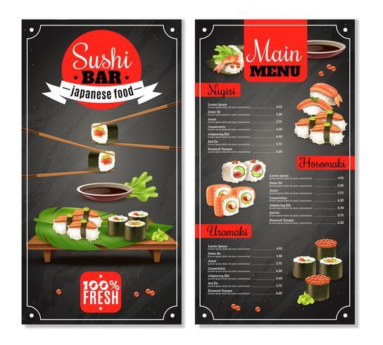 sushi bar menu vetor