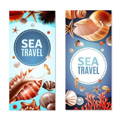 Conjunto de Banners Seashell vetor