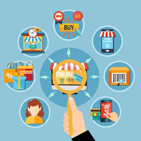 Composição da E-Commerce Round vetor