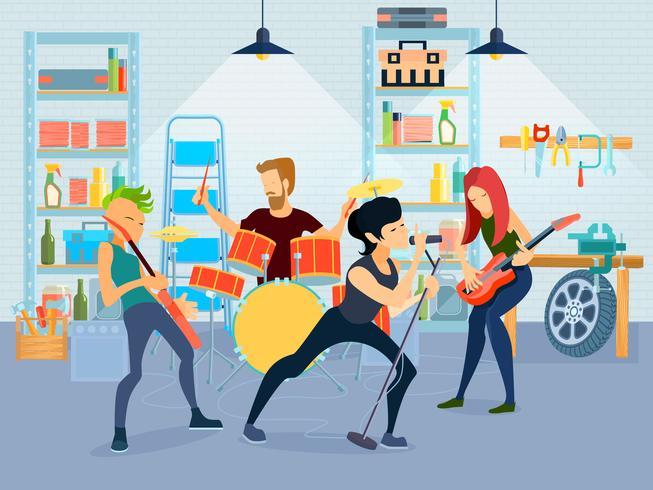 Composição de jovens músicos vetor