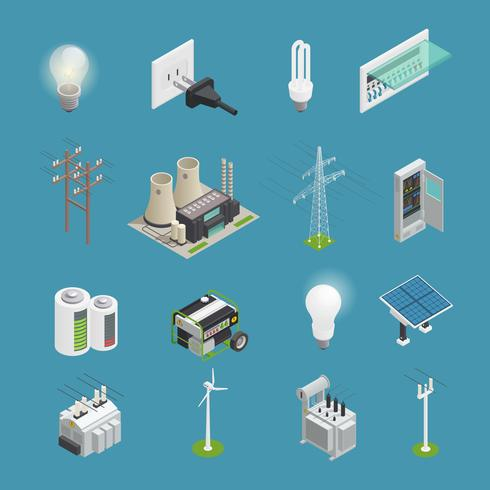 Coleção isométrica de ícones de poder de eletricidade vetor