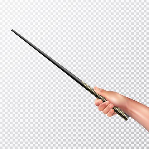 Mão realista com varinha mágica vetor