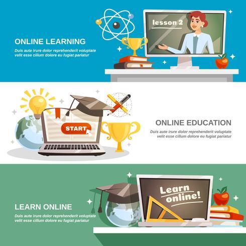 Banners horizontais de educação on-line vetor
