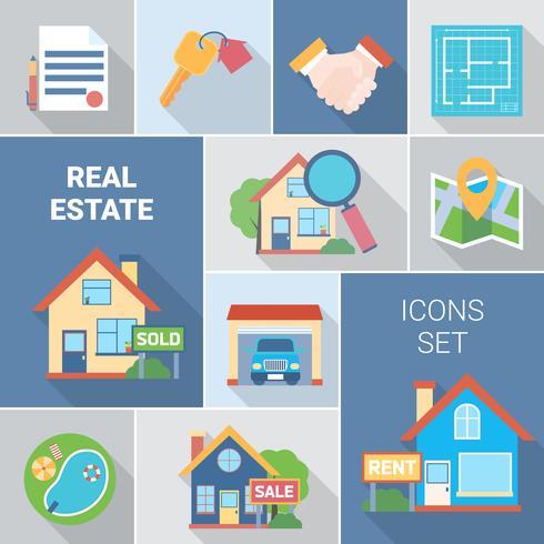 Conjunto de ícones imobiliários e agência vetor