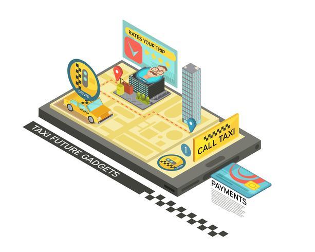 Chamada de táxi por design isométrico de gadget vetor
