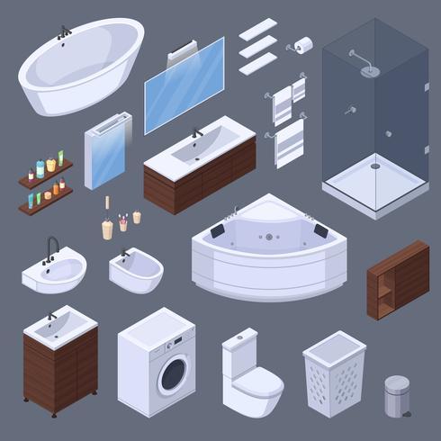 Coleção isométrica de elementos do banheiro vetor