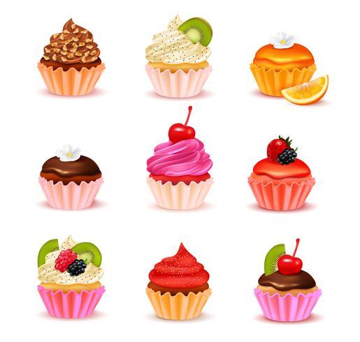 Conjunto de Sortido Cupcakes vetor