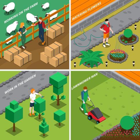 Trabalhando no conceito de Design Farm 2x2 vetor