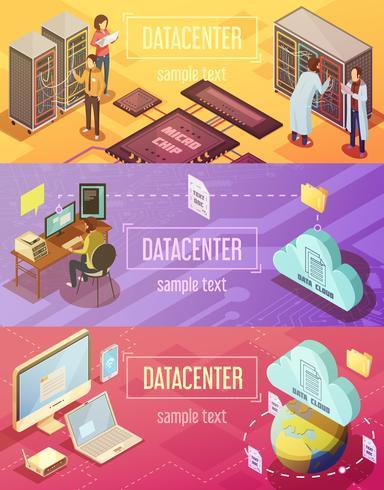 Conjunto de Banners isométricos de datacenter vetor
